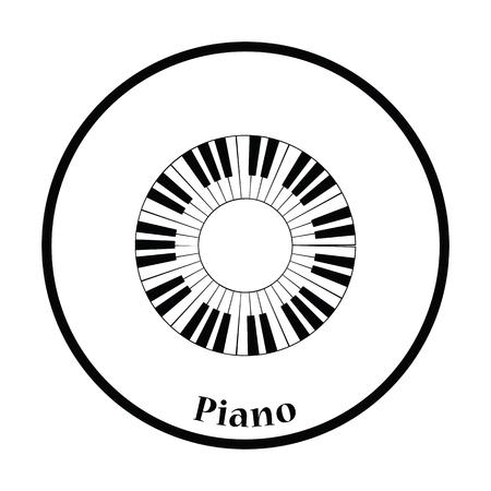 piano closeup: Piano circle keyboard icon. Thin circle design. Vector illustration. Illustration