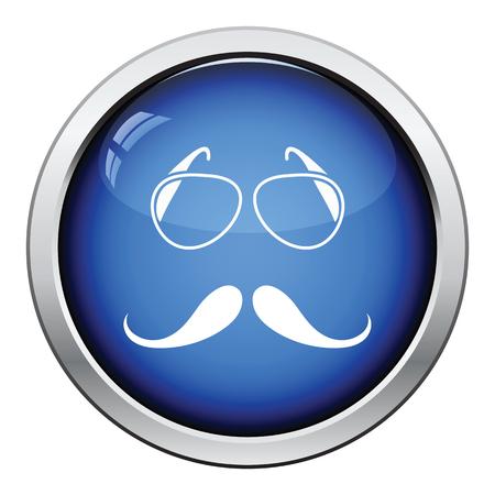 glasses icon: Glasses and mustache icon. Glossy button design. Vector illustration.