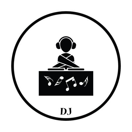 night club: Night club DJ icon. Thin circle design. Vector illustration.
