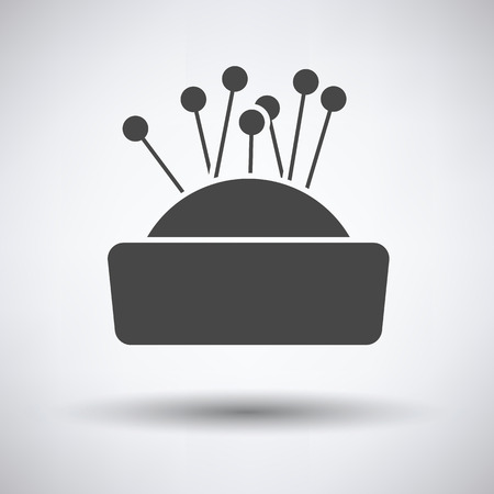 handmade shape: Pin cushion icon on gray background, round shadow. Vector illustration. Illustration