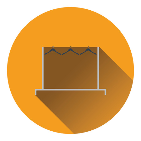 clothes rail: Clothing rail with hangers icon. Flat color design. Vector illustration.