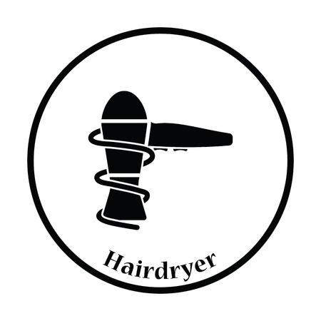 drier: Hairdryer icon. Thin circle design. Vector illustration.