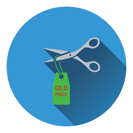 low cost: Scissors cut old price tag icon. Flat color design. Vector illustration. Illustration