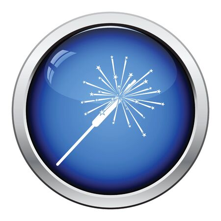 bengal light: Party sparkler icon. Glossy button design. Vector illustration.