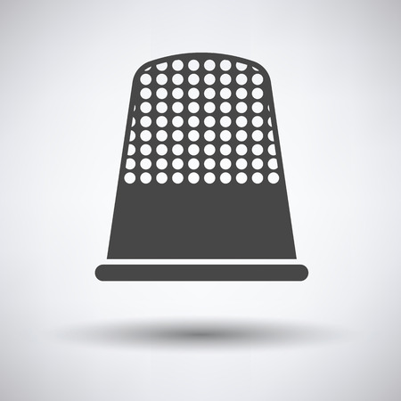 thimble: Tailor thimble icon on gray background, round shadow. Vector illustration.