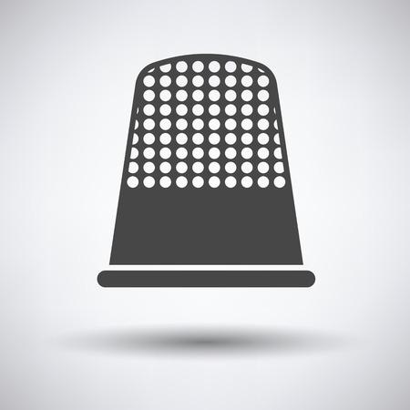 hem: Tailor thimble icon on gray background, round shadow. Vector illustration.