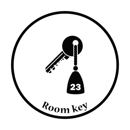hotel chain: Hotel room key icon. Thin circle design. Vector illustration.