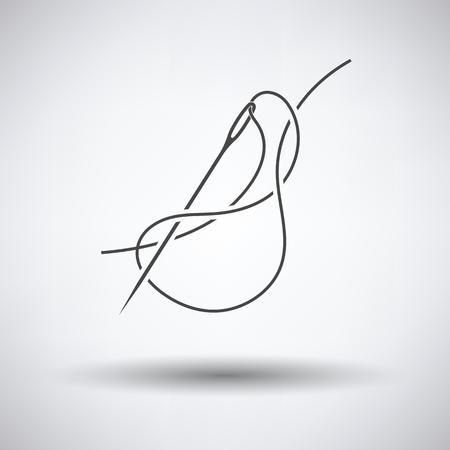 Nähnadel mit Faden-Symbol auf grauem Hintergrund, runde Schatten. Vektor-Illustration.