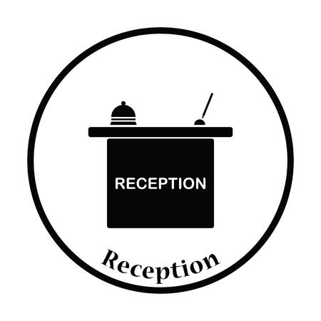 hotel reception: Hotel reception desk icon. Thin circle design. Vector illustration. Illustration