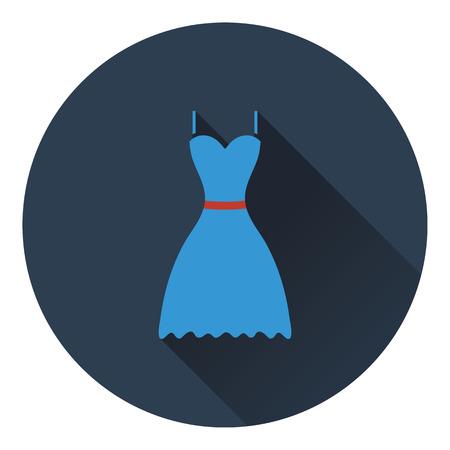 dress code: Dress icon. Flat color design. Vector illustration.