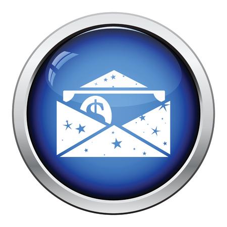 money button: Birthday gift envelop icon with money  . Glossy button design. Vector illustration.