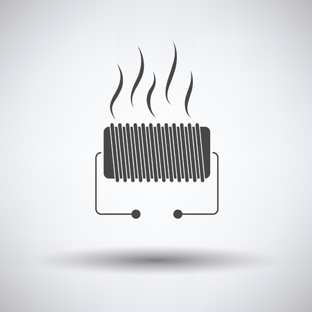 single coil: Electrical heater icon on gray background, round shadow. Vector illustration.
