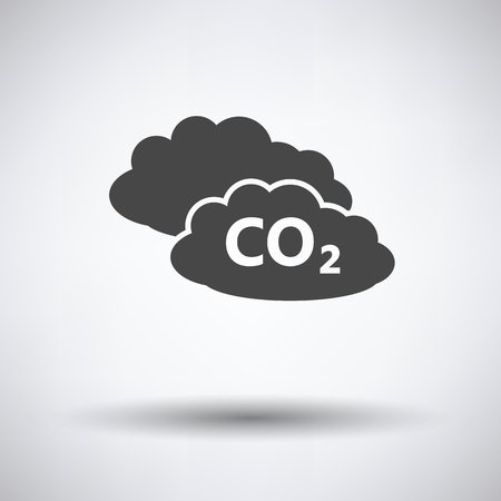 toxic cloud: CO 2 cloud icon on gray background, round shadow. Vector illustration.
