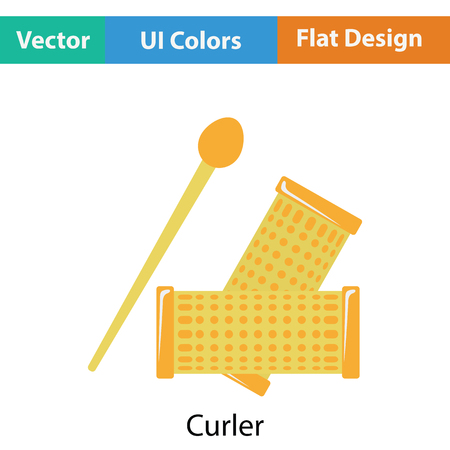 coiffure: Hair curlers icon. Flat color design. Vector illustration.