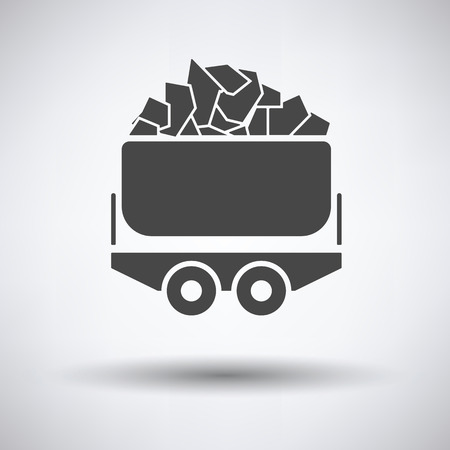 cart: Mine coal trolley icon on gray background, round shadow. Vector illustration.