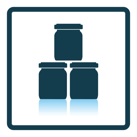 glass reflection: Baby glass jars icon. Shadow reflection design. Vector illustration.