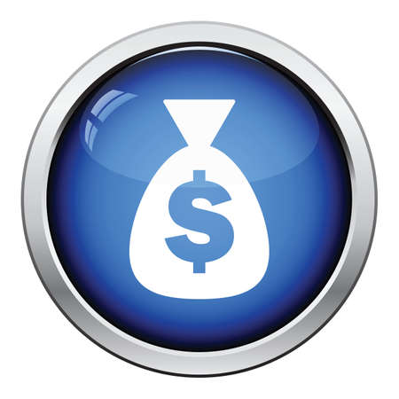 money button: Money bag icon. Glossy button design. Vector illustration.