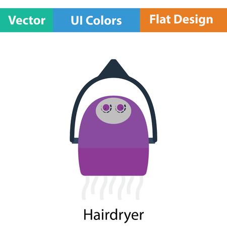 blow drying: Hairdryer icon. Flat color design. Vector illustration. Illustration