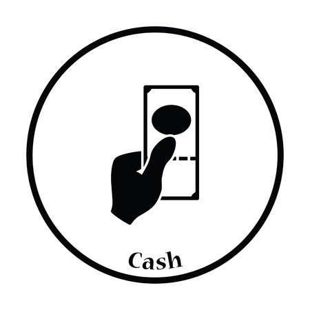 had: Had holding dollar icon. Thin circle design. Vector illustration.