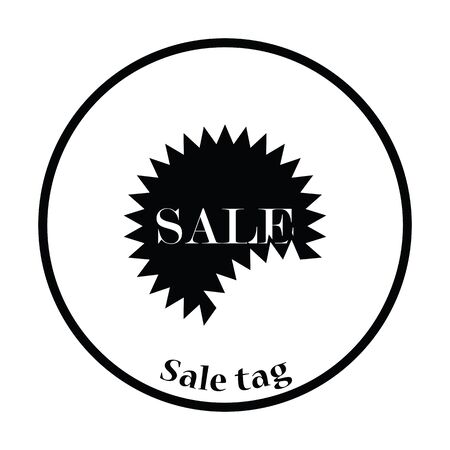 sale tag: Sale tag icon. Thin circle design. Vector illustration. Illustration