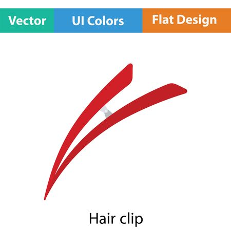 personal grooming: Hair clip icon. Flat color design. Vector illustration.