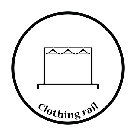 clothes rail: Clothing rail with hangers icon. Thin circle design. Vector illustration.