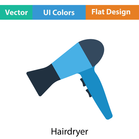 blow drying: Hairdryer icon. Flat color design. Vector illustration. Illustration