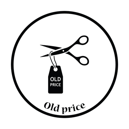 cut price: Scissors cut old price tag icon. Thin circle design. Vector illustration.