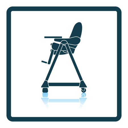 high chair: Baby high chair icon. Shadow reflection design. Vector illustration.