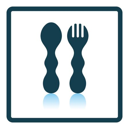 Baby spoon and fork icon. Shadow reflection design. Vector illustration. Illustration