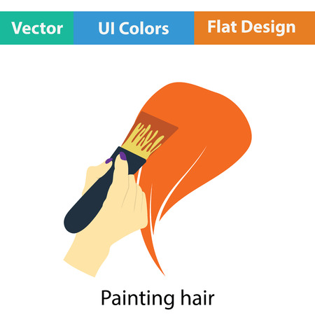 hair color: Painting hair icon. Flat color design. Vector illustration.