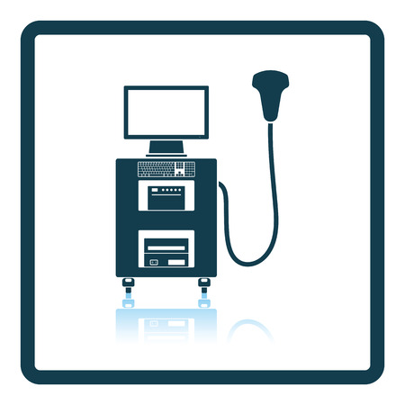 Ultrasound diagnostic machine icon. Shadow reflection design. Vector illustration.