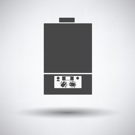 water heater: Gas boiler icon on gray background, round shadow. Vector illustration. Illustration