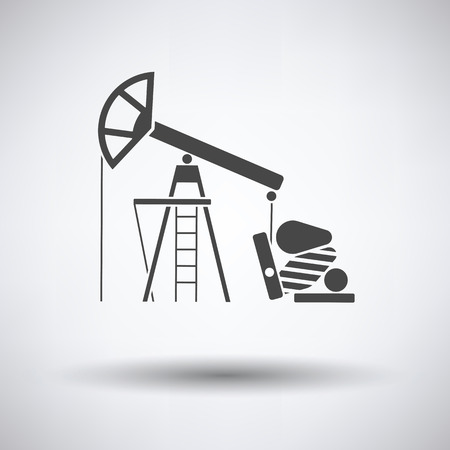 oilwell: Oil pump icon on gray background, round shadow. Vector illustration.
