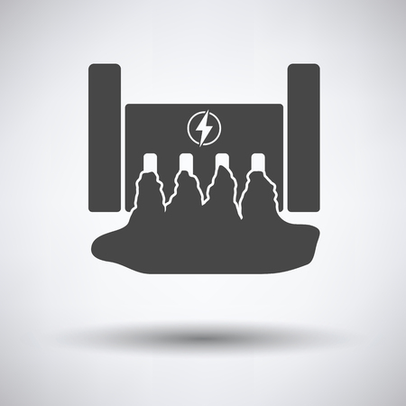 hydroelectricity: Hydro power station icon on gray background, round shadow. Vector illustration.
