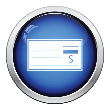 blank button: Bank check icon. Glossy button design. Vector illustration.