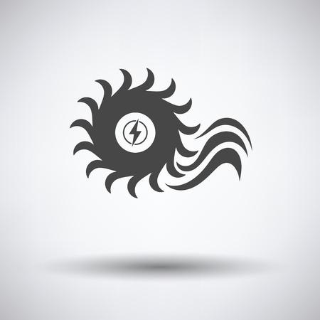barrage: Water turbine icon on gray background, round shadow. Vector illustration. Illustration