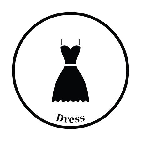 dress code: Dress icon. Thin circle design. Vector illustration.