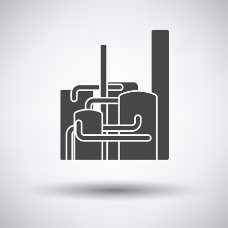 chemical plant: Chemical plant icon on gray background, round shadow. Vector illustration.