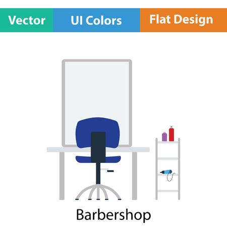 groomed: Barbershop icon. Flat color design. Vector illustration.