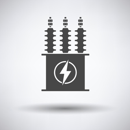 transformer: Electric transformer icon on gray background, round shadow. Vector illustration.