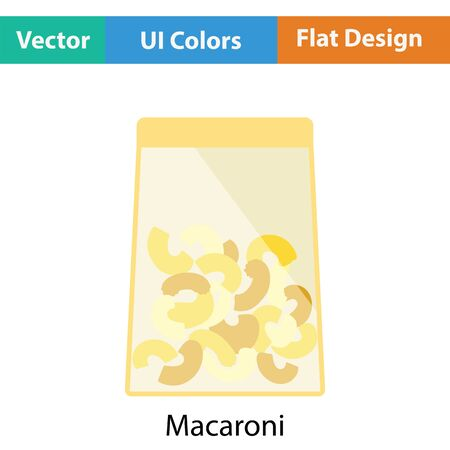 package icon: Macaroni package icon. Flat color design. Vector illustration.