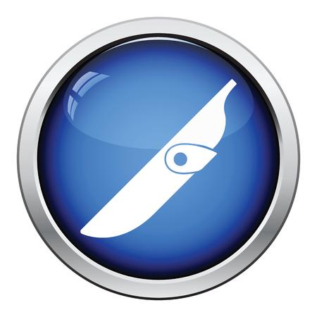 fiambres: icono de la vaina del cuchillo. Dise�o brillante del bot�n. Ilustraci�n del vector.