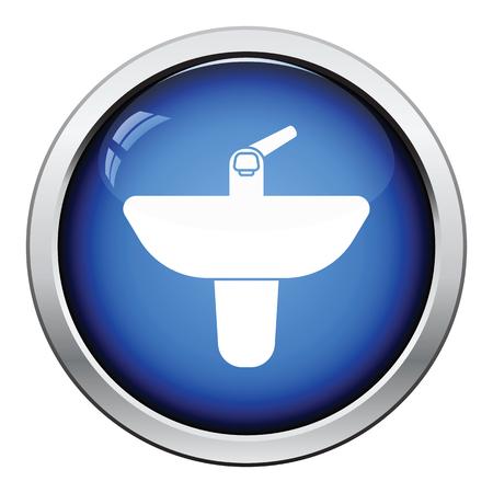 basin: Wash basin icon. Glossy button design. Vector illustration. Illustration