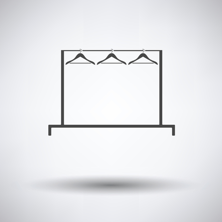 clothes rail: Clothing rail with hangers icon on gray background, round shadow. Vector illustration. Illustration