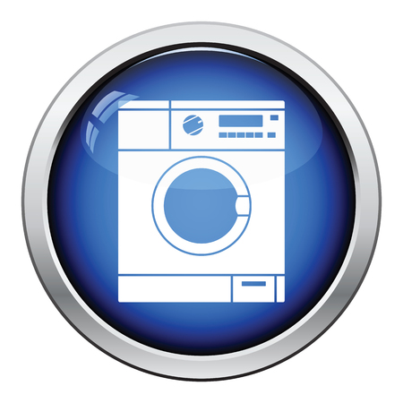 glossy: Washing machine icon. Glossy button design. Vector illustration.