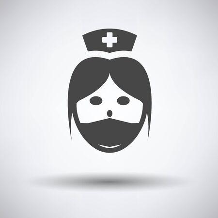 orderly: Nurse head icon on gray background, round shadow. Vector illustration. Illustration