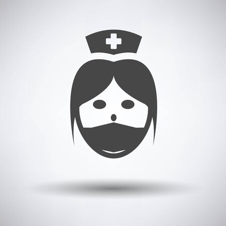 Nurse head icon on gray background, round shadow. Vector illustration. Illustration