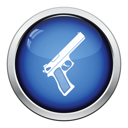 Gun icon. Glossy button design. Vector illustration. Illustration