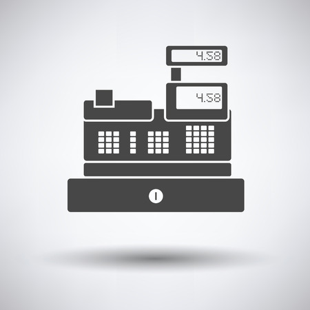 checkout counter: Cashier icon on gray background, round shadow. Vector illustration.